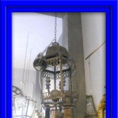 Segunda Mano: FAROL O LAMPARA DE METAL ENVEJECIDO. Lote 53968580