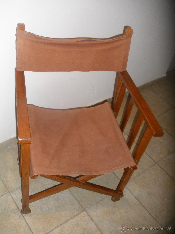 Silla de director plegable de loneta y madera comprar for Sillas vintage segunda mano