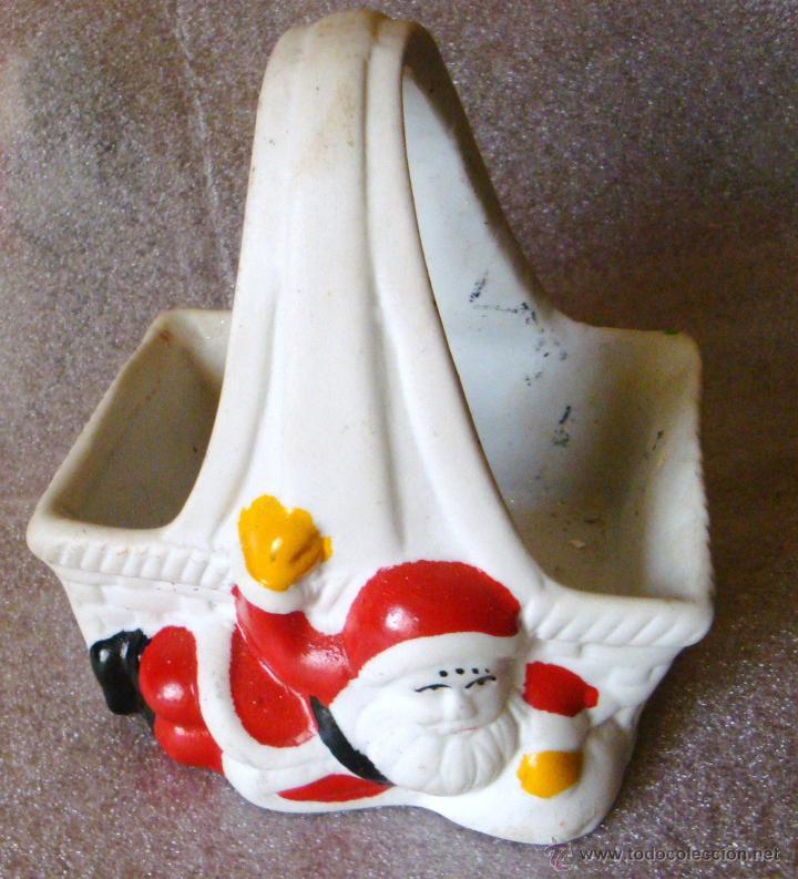 Segunda Mano: Muñeco Navidad Papa Nöel Santa Claus cesta años 80 cerámica - Foto 2 - 54424792