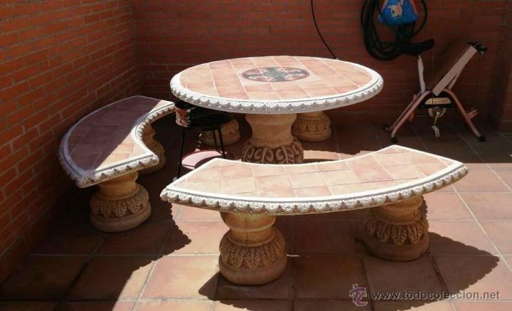 Mesa con 3 bancos piedra para jardin preciosa comprar art culos de segunda mano de hogar y - Bancos de jardin de segunda mano ...