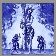 Segunda Mano: IMPRESIONANTE AZULEJO 15X15 DE JESÚS ATADO A LA COLUMNA O CRISTO DE LA MISERICORDIA. Lote 55774570