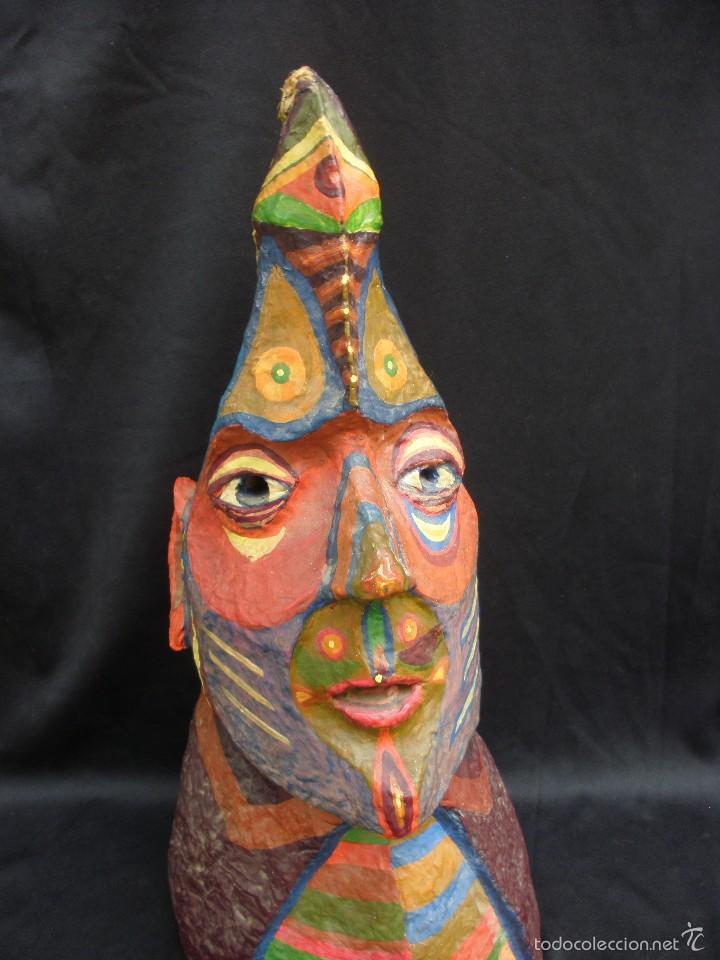 Segunda Mano: Original y raro busto de totem de tribu americana indígena artesanal en papel mache 34 cm - Foto 2 - 56314228