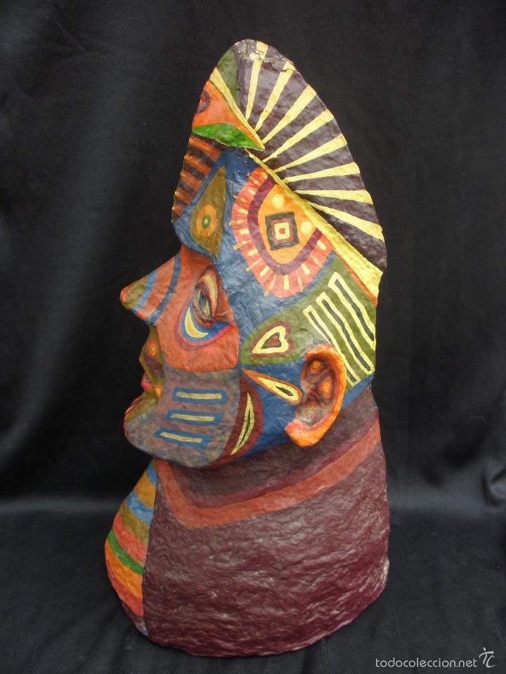 Segunda Mano: Original y raro busto de totem de tribu americana indígena artesanal en papel mache 34 cm - Foto 3 - 56314228
