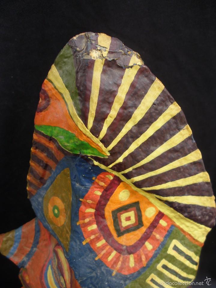 Segunda Mano: Original y raro busto de totem de tribu americana indígena artesanal en papel mache 34 cm - Foto 4 - 56314228
