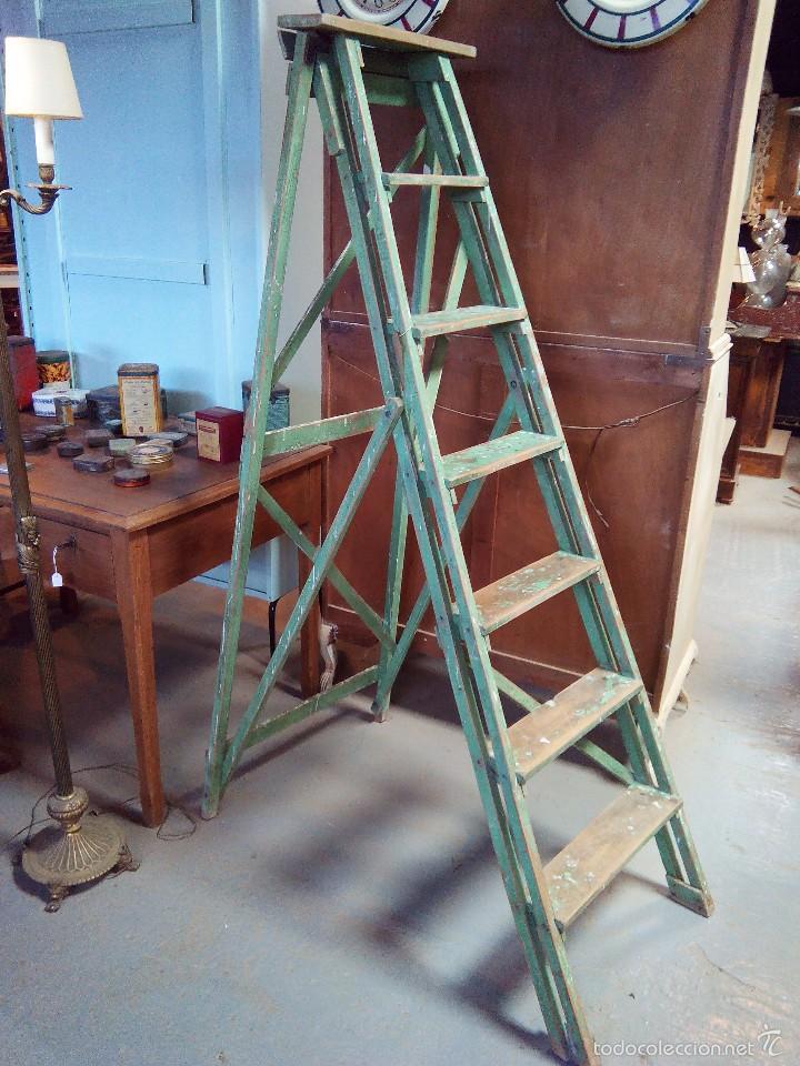 Escalera de madera comprar en todocoleccion 57200686 for Escalera de electricista