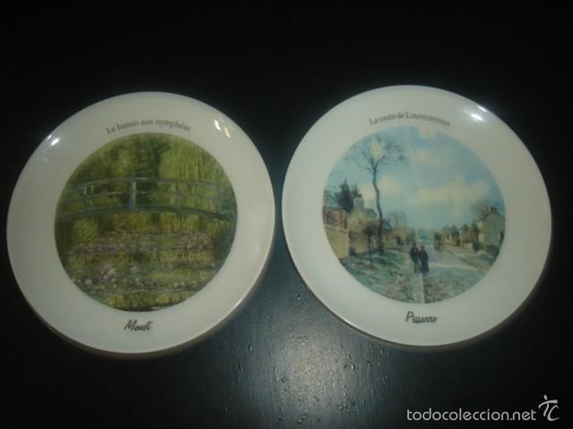 2 PLATOS DE PORCELANA ITALIANA DE TOGNANA CON CUADROS DE MONET Y PISSARRO (Segunda Mano - Hogar y decoración)
