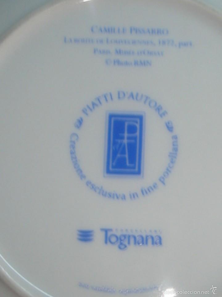Segunda Mano: 2 platos de porcelana italiana de Tognana con cuadros de Monet y Pissarro - Foto 4 - 58531875