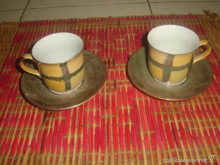 2 TAZAS DE CAFÉ CON SUS PLATOS PINTADAS A MANO DE LA MARCA ALDIK (Segunda Mano - Hogar y decoración)