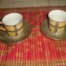 Segunda Mano: 2 TAZAS DE CAFÉ CON SUS PLATOS PINTADAS A MANO DE LA MARCA ALDIK. Lote 40296598