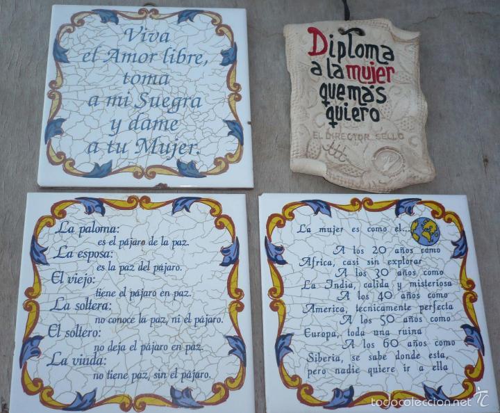 3 azulejos con frases diploma artesanal vinta comprar for Menaje segunda mano