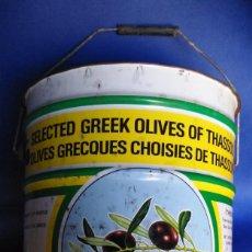 Segunda Mano: LATA CUBO ACEITUNAS DE THASSOS, GRECIA. AÑOS 90. Lote 63283388