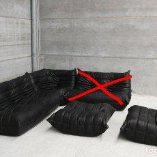 Segunda Mano: VINTAGE TOGO SOFA SET - WONDERFUL BLACK LEATHER DESIGN BY MICHEL DUCAROY FOR LIGNE ROSET FRANCE 4. Lote 64251891