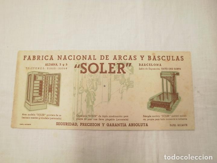 TARJETA SECANTE. PROPAGANDA FABRICA NACIONAL DE ARCAS Y BASCULAS -SOLER-.BARCELONA (Segunda Mano - Otros)