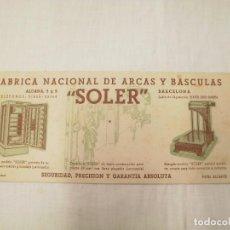 Segunda Mano: TARJETA SECANTE. PROPAGANDA FABRICA NACIONAL DE ARCAS Y BASCULAS -SOLER-.BARCELONA. Lote 64612631