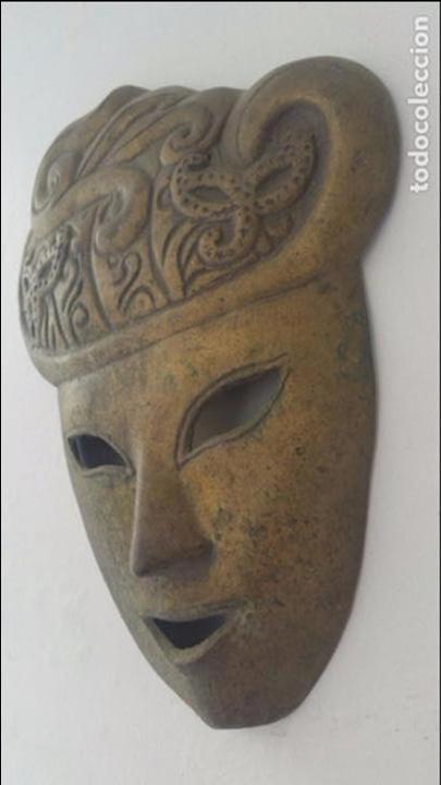MASCARA VENECIANA DE BRONCE - 26 X 19 CM (Segunda Mano - Hogar y decoración)