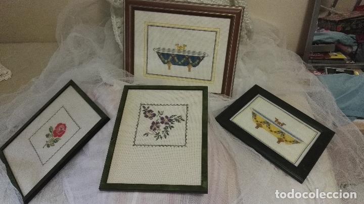 Lote 4 cuadros punto de cruz ba era antigua y f comprar for Baneras antiguas precios
