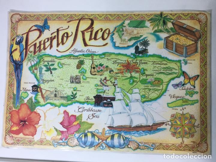 SALVA MANTEL PLASTIFICADO DE MAPA PUERTO RICO, 44 X 30 CM. (Segunda Mano - Hogar y decoración)