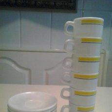 Segunda Mano: 6 TAZAS DE CAFE CON PLATO ARCOPAL SPAIN .MODELO RESTAURANTE. Lote 73606027