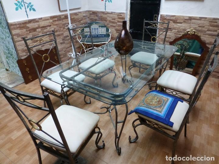 conjunto mesa cristal+4 sillas, de forja metal - Comprar artículos ...