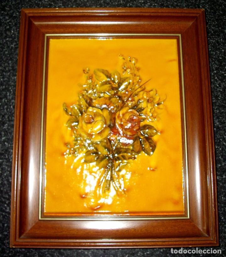 Tres cuadros de flores en relieve artesanales comprar for Cuadros rectangulares grandes