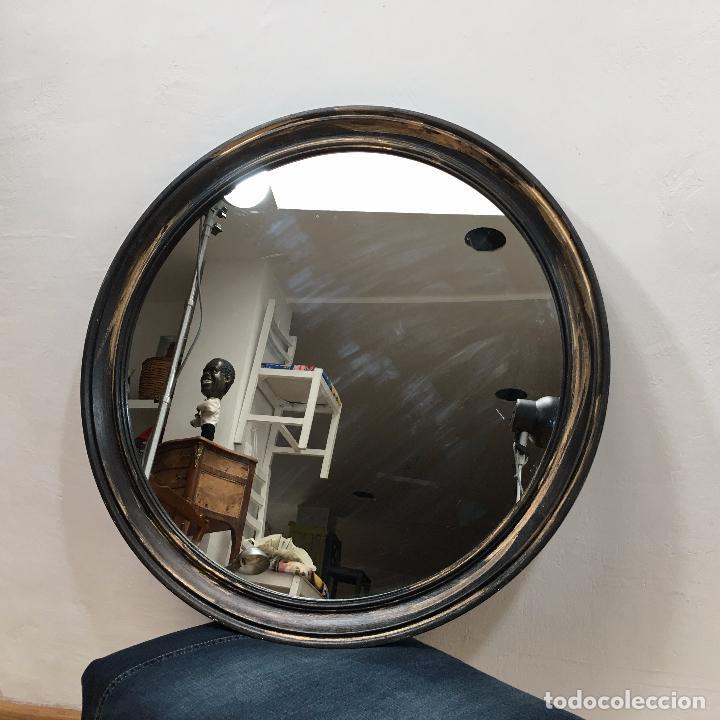 espejo redondo marco de madera pintado en negro - Comprar artículos ...