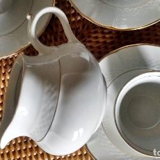 Segunda Mano - 5 tazas 5 platos lechera juego café porcelana fina Royal Tognana Italia borde en oro - 84858464