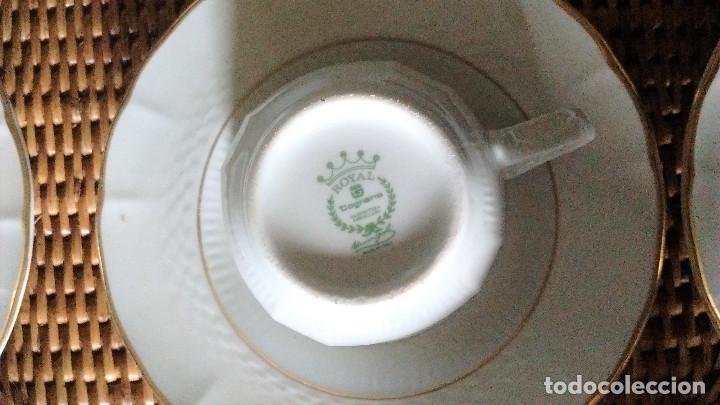 Segunda Mano: 5 tazas 5 platos lechera juego café porcelana fina Royal Tognana Italia borde en oro - Foto 3 - 84858464