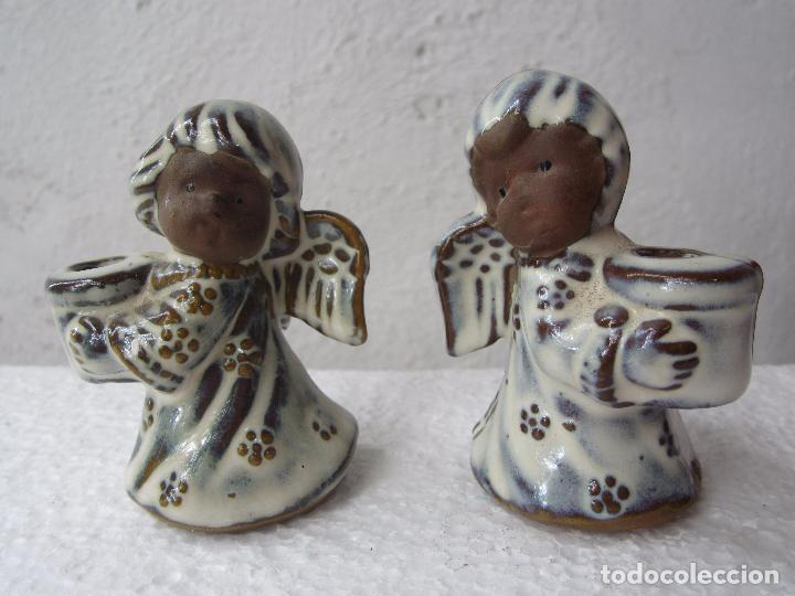2 PEQUEÑOS CANDELABRO ANGEL PARA PONER VELA FINA , CERAMICA (Segunda Mano - Hogar y decoración)