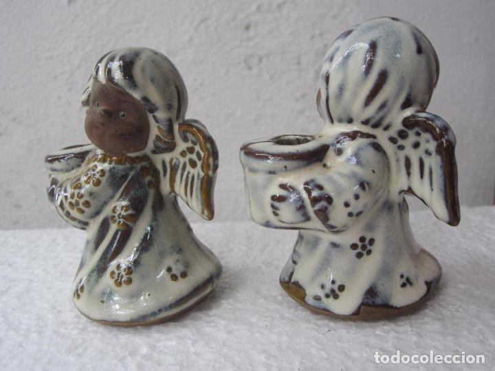 Segunda Mano: 2 pequeños candelabro angel para poner vela fina , ceramica - Foto 4 - 86872024
