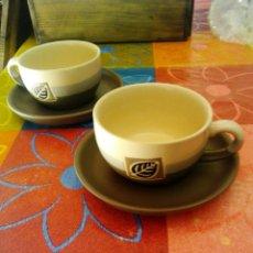 Segunda Mano: JUEGO 2 TAZAS CAFE CON PLATO CERAMICA. Lote 87430696