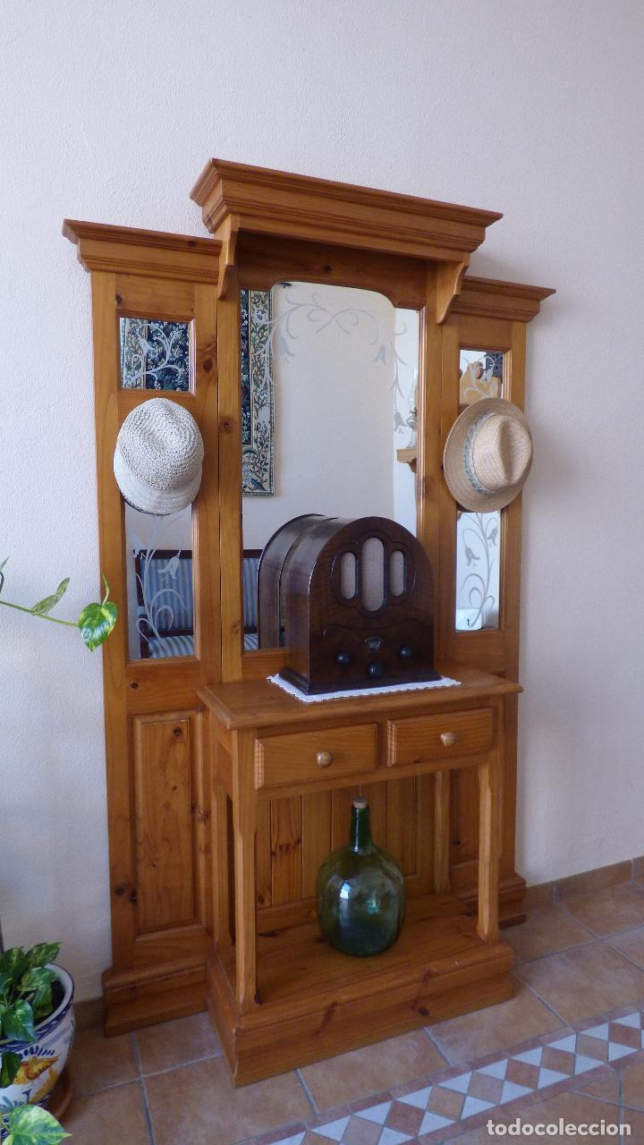 Mueble recibidor con perchero mueble de entrada con espejo recibidor perchero vintage with - Mueble entrada segunda mano ...