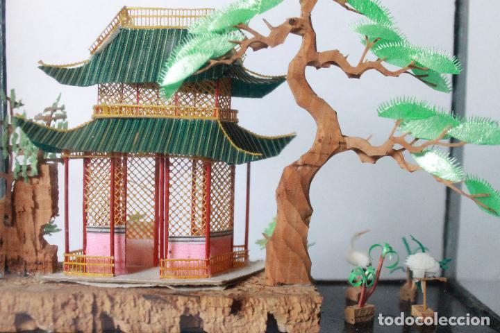 Segunda Mano: Diorama paisaje chino de corcho antiguo. 15x15 cm lateral ancho 5 cm. - Foto 2 - 93354980