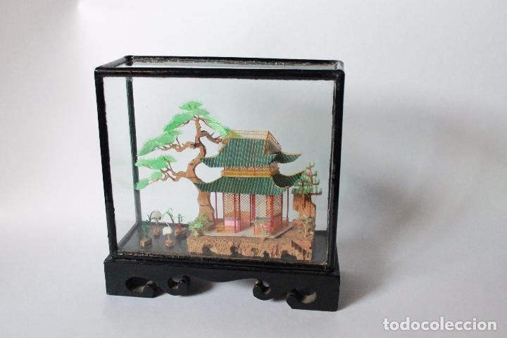 Segunda Mano: Diorama paisaje chino de corcho antiguo. 15x15 cm lateral ancho 5 cm. - Foto 4 - 93354980