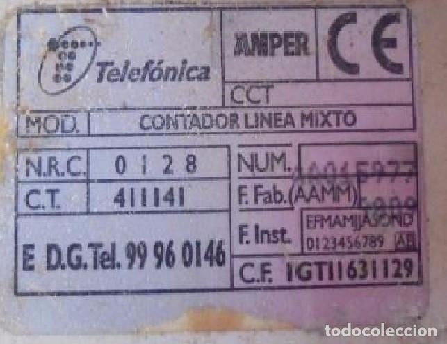 Segunda Mano: CONTADOR DE LINEA MIXTO O MARCAPASOS DE LA C.T.N.E. COMPAÑÍA TELEFÓNICA NACIONAL DE ESPAÑA 100%ORIGI - Foto 4 - 95040255