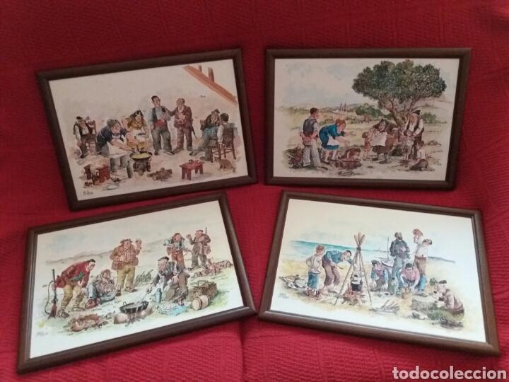 lote cuatro cuadros con marco de madera - Comprar artículos de ...
