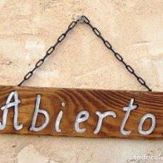 D'Occasion: CARTEL LETRERO DE MADERA ABIERTO-CERRADO, TIENDA. Lote 189433511