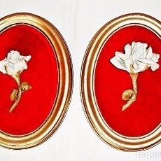 Segunda Mano: DOS CUADROS OVALADOS FLORES PORCELANA - OVAL PICTURE, FLOWERS. Lote 97492831