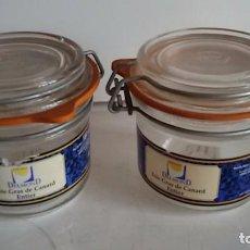 Segunda Mano: LOTE DE 2 TARROS VACIOS AL VACIO, (CAPACIDAD 180 GRAMOS DE FOIE GRAS). Lote 100383947