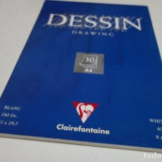 Segunda Mano: DESSIN DRAWING . 30 HOJAS A4 CLAIREFONTAINE. BLANC 180 GR. 21X29,7. 83LB 8X12. Lote 100782343