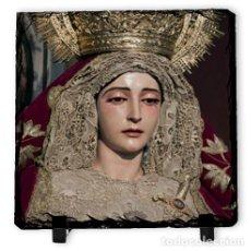 Segunda Mano: BALDOSA DE PIZARRA 15X15 DE LA VIRGEN DE LA MERCED DE SEVILLA. Lote 105425235