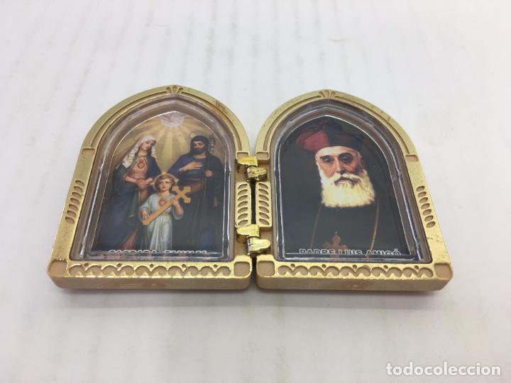 Segunda Mano: DIPTICO RELIGIOSO - PADRE LUIS AMIGÓ Y SAGRADA FAMILIA - DE PLASTICO DURO - Foto 2 - 106045187