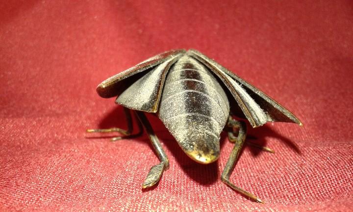 Segunda Mano: Cucaracha de bronce pavonado. Ojos piedras rojas. Siglo XX. - Foto 5 - 108006287