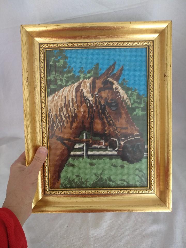 tapiz petit point, cabeza de caballo, enmarcado - Comprar artículos ...