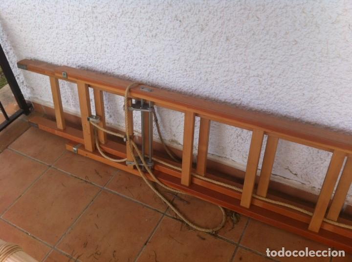 Segunda Mano: Escalera Industrial Electricista Pintor madera extensible hasta 6m. Modelo B12 Arizona. Como nueva. - Foto 6 - 114682503