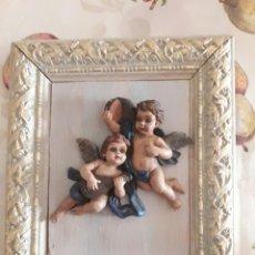Segunda Mano: CUADRO ANGELITOS QUERUBINES DE MARMOLINA PINTADOS A MANO.. Lote 117234847
