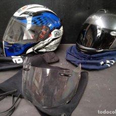 Segunda Mano: LOTE DE DOS, CASCO DE MOTO, VISERA Y ALGUNOS ACCESORIOS MOTOCICLISTA, AGV ARAI. Lote 119878243