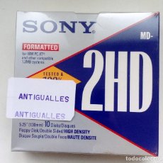 Segunda Mano: CAJA 10 DISQUETES 5.25,130MM SONY MD-2HD,1.2MB.PC IBM,VINTAGE.NUEVO.PARA SPECTRUM,AMSTRAD,MSX.. Lote 123365471