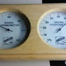 Segunda Mano: SAUNA THERMOMETER + HYGROMETER WOOD MOUNT KNOW THE TEMPERATURE AND HUMIDITY OF YOUR SAUNA. Lote 125057355
