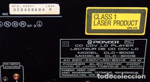 Reproductor Laserdisc PIONEER CD CDV LD PLAYER CLD-900S