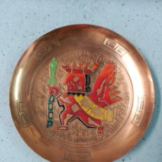 Segunda Mano: PLATO DECORACTIVO PERU EN COBRE FIGURA IDOLO. Lote 128369379